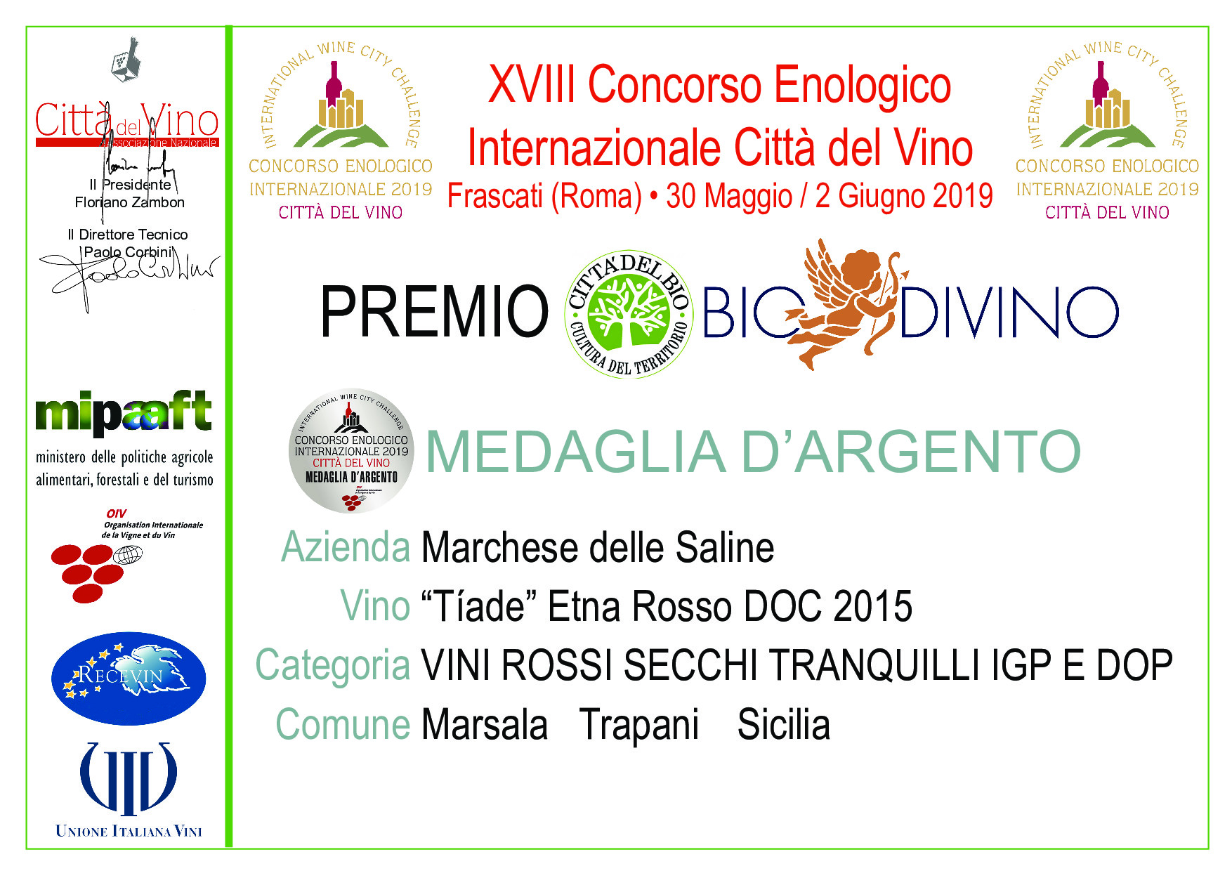 Medaglie d'Argento al concorso Enologico Internazionale Città del Vino – Frascati 2019