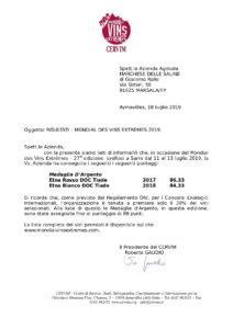 Medaglia D'Argento Etna Rosso 2017 Biologico – Mondial des vins extrêmes- CERVIM
