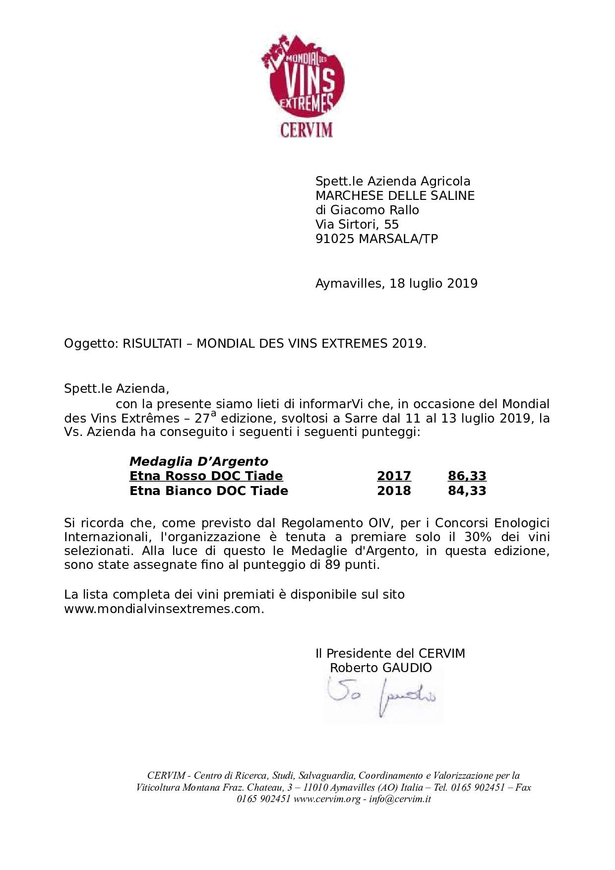 Silver Medal Organic Etna Rosso 2017 – Mondial des vins extrêmes- CERVIM