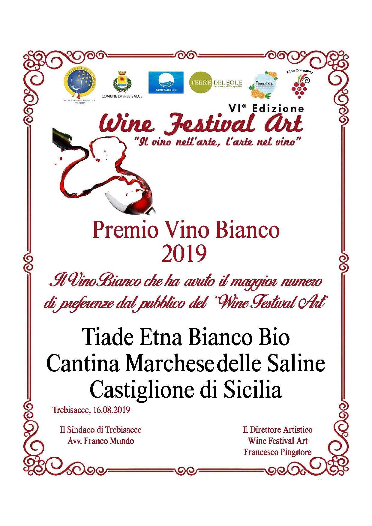 Etna Bianco Tìade Biologico, Premio Vino Bianco 2019 – Wine Festival Art